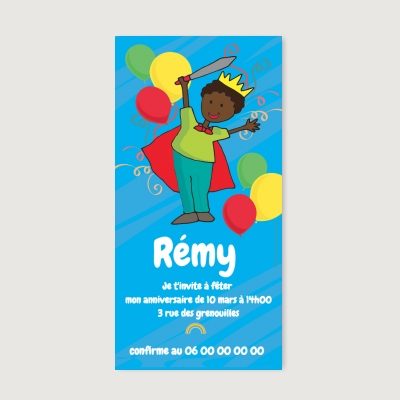 Invitation anniversaire Enfant Royal king