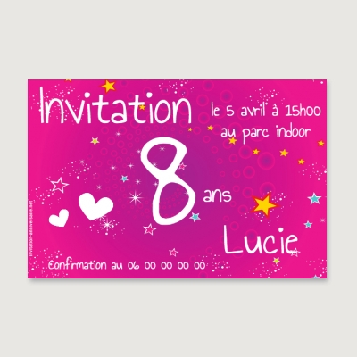 Invitation anniversaire Enfant Fille Star party !