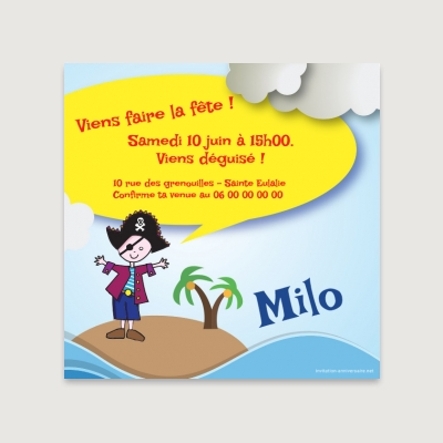 Invitation anniversaire Enfant Garçon Pirate party