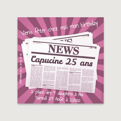 Invitation anniversaire Adulte Newspaper