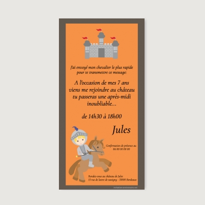 Invitation anniversaire Enfant Chevalier de la table ronde