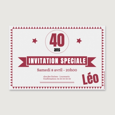 Invitation anniversaire Adulte Authentique