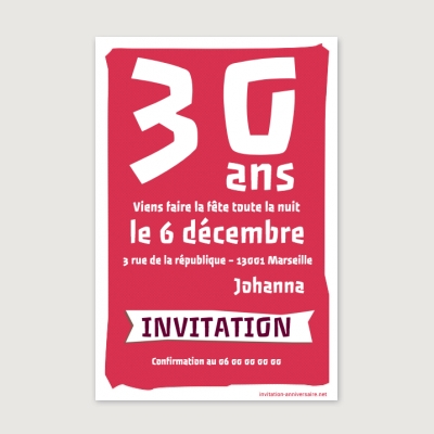 Invitation anniversaire Adulte Crunchy