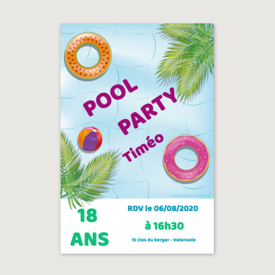Invitation anniversaire Adolescent Pool Party