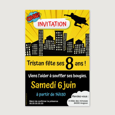 Invitation anniversaire Enfant Super héros party