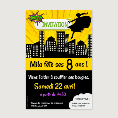 Invitation anniversaire Enfant Fille Super girls party