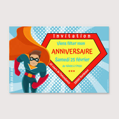Invitation anniversaire Enfant Super héros birthday