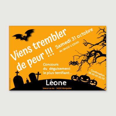 Invitation anniversaire Enfant Fille Halloween party