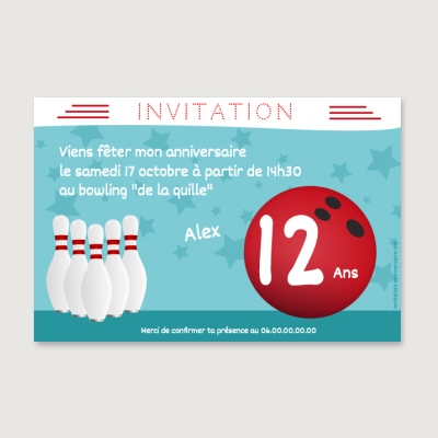 Invitation anniversaire Enfant Fille Bowling party