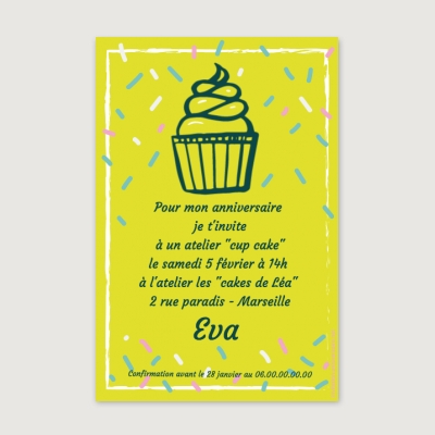 Invitation anniversaire Adolescent Cup Cake party