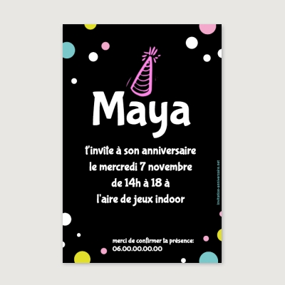 Invitation anniversaire Enfant Fille Black party