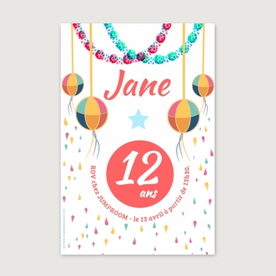 Invitation anniversaire Enfant Fille Asian spirit